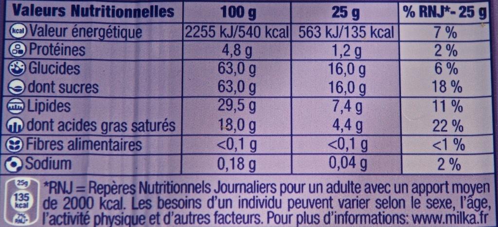 Weiße Schokolade - Nutrition facts