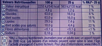 White Chocolate Bar - Informations nutritionnelles