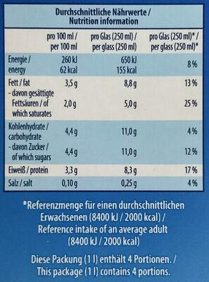 Haltbare Vollmilch - Valori nutrizionali - de