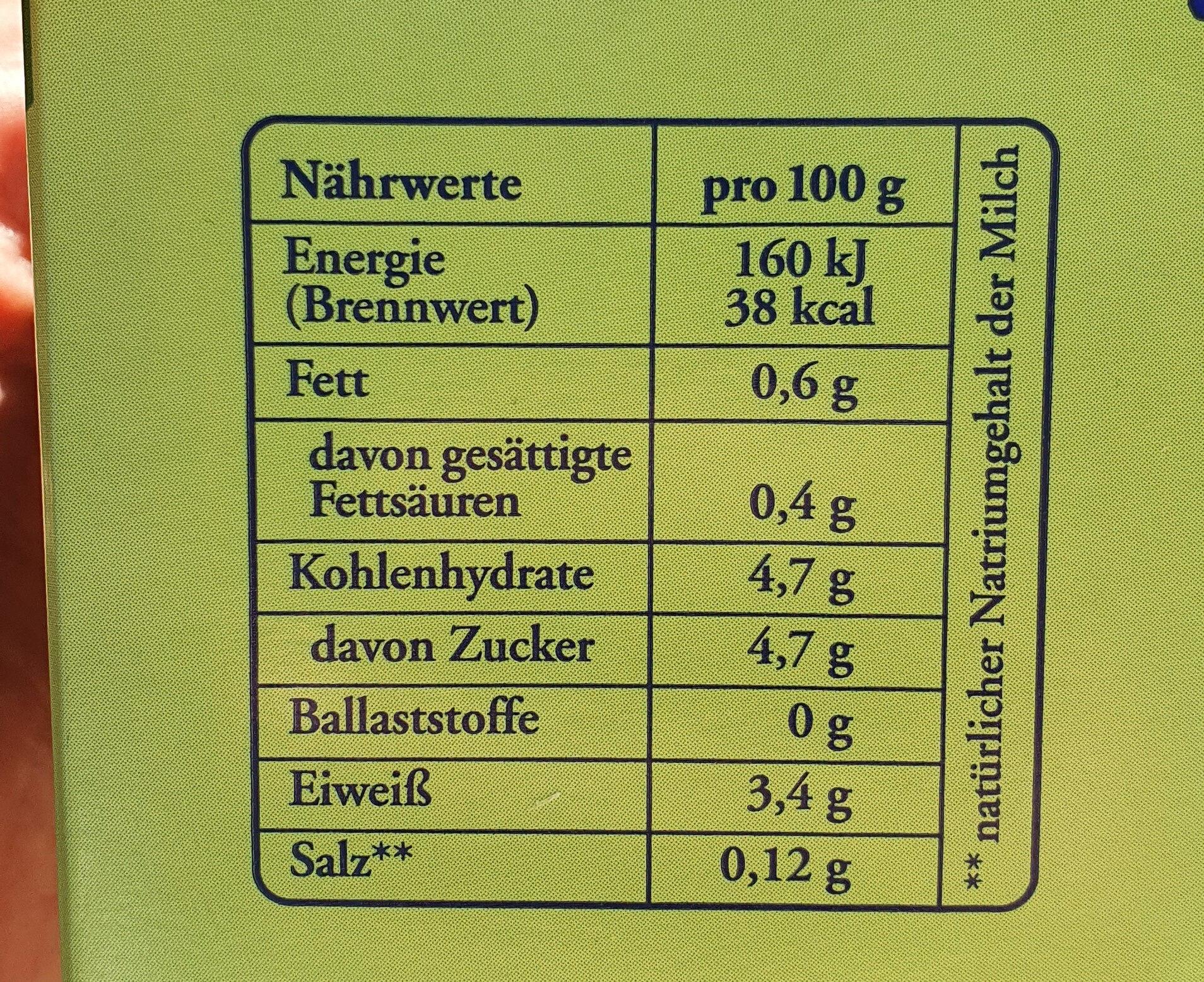 Buttermilch - Nutrition facts - de