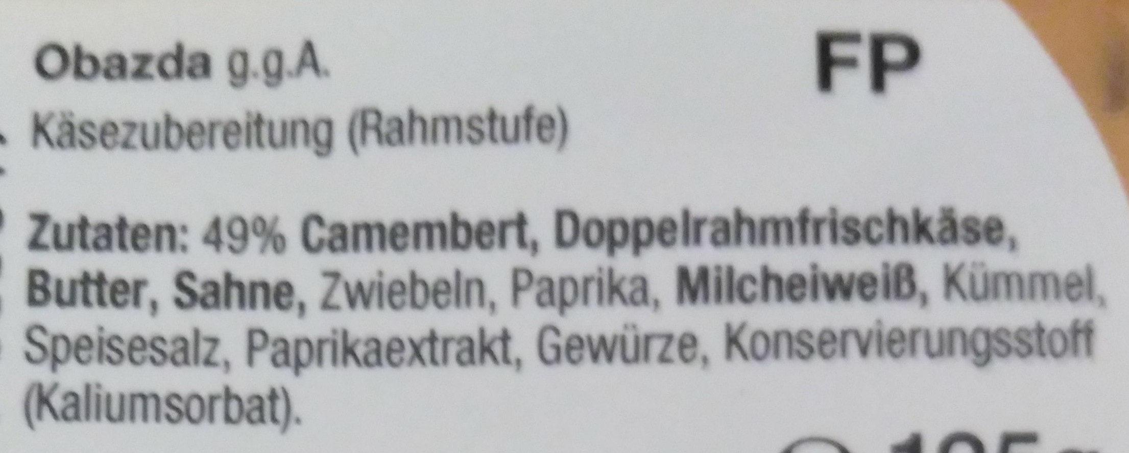 Obazda Aufstrich - Ingredienti - de