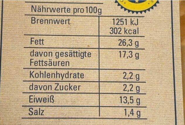 Obazda Aufstrich - Valori nutrizionali - de
