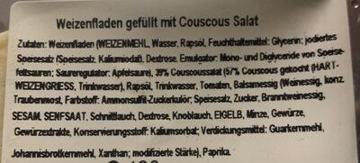 Wraps Couscous - Ingredients