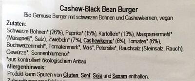 Cashew-Black Bean Burger - Ingrédients