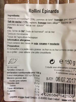 Rollini Épinards - Informations nutritionnelles