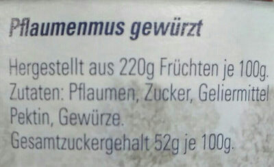 Thüringer Pflaumenmus - Ingrediënten - de
