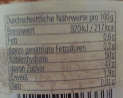 Thüringer Pflaumenmus - Voedingswaarden - de
