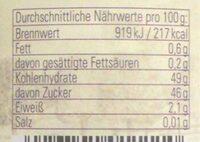 Thüringer Pflaumenmus - Nährwertangaben - de