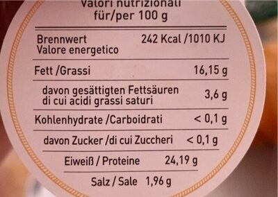 Filetti di acciughe - Nutrition facts - de
