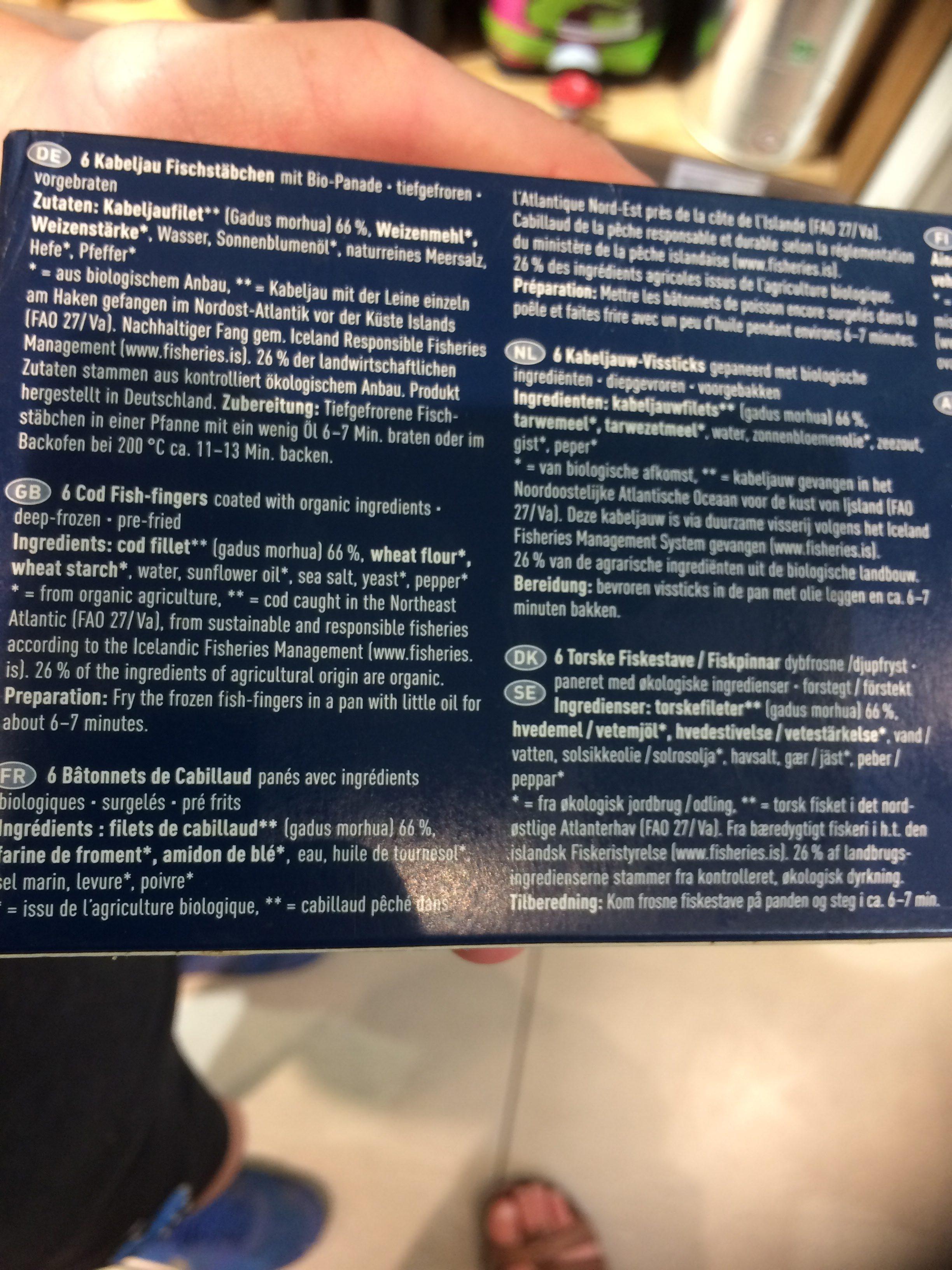 Batonnets De Cabillaud - Ingredients