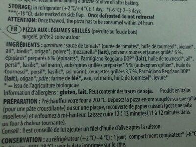 Pizza Verdura - Ingrédients