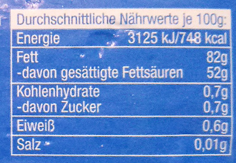 Mantequilla ecológica - Nutrition facts - de