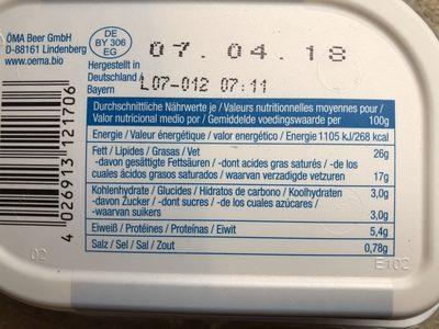 Fromage frais bio - Ingredients - fr