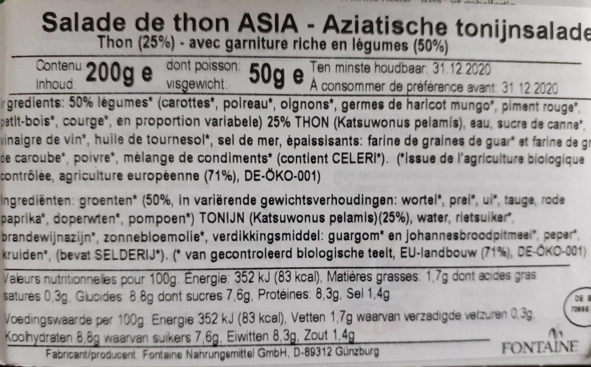 Salade de thon Asia - Nutrition facts - fr