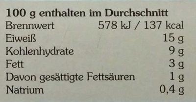 Filet vom Wildlachs in Bio-Tomaten-Basilikum-Creme - Nutrition facts