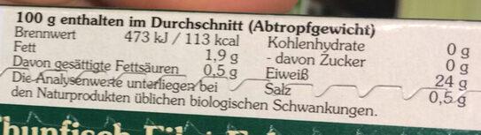Thunfisch-filet echter bonito - Nährwertangaben - de