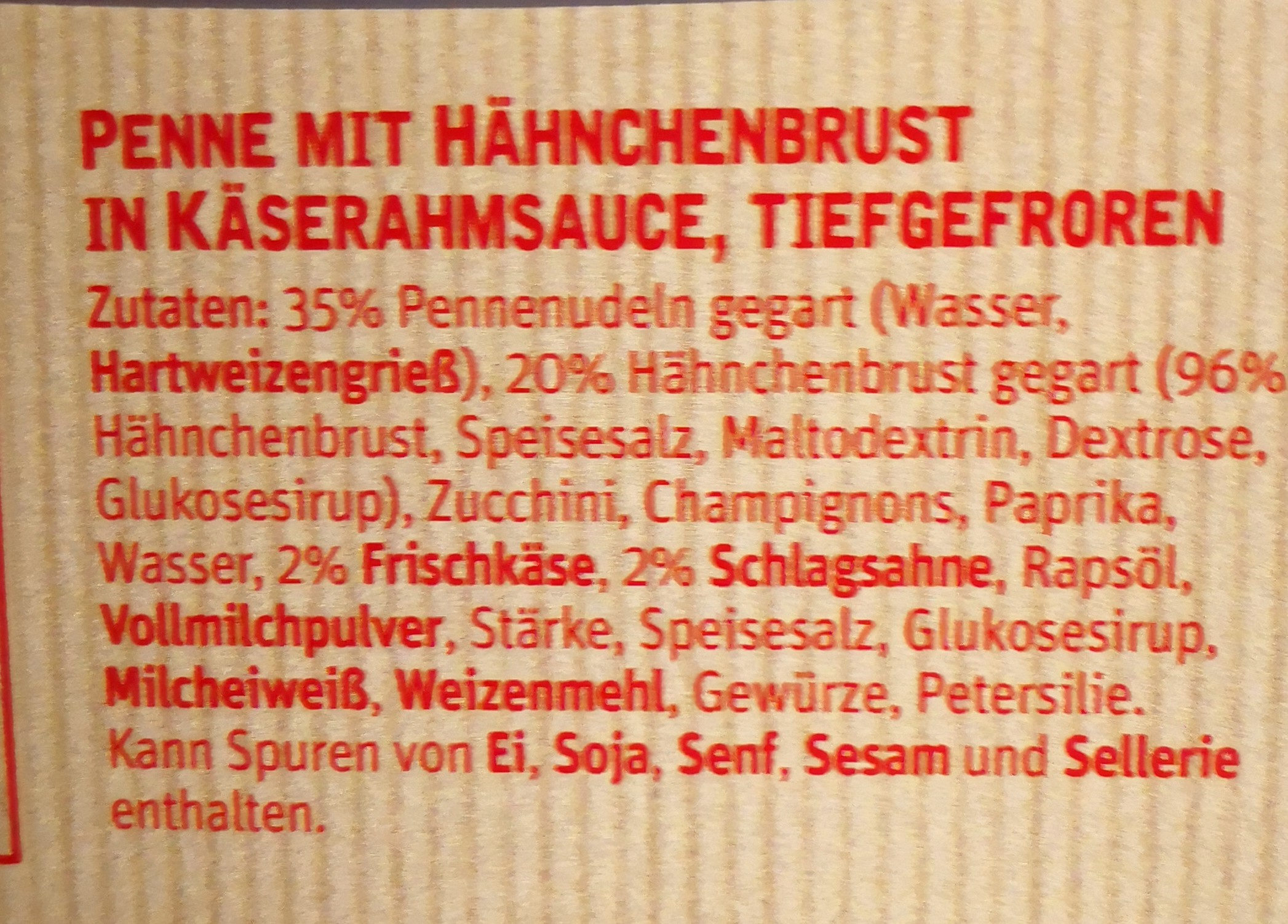 Pennenudeln mit Hähnchenbrust - Ingrediënten - de