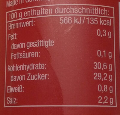 Curry Gewürz Ketchup delikat - Informations nutritionnelles