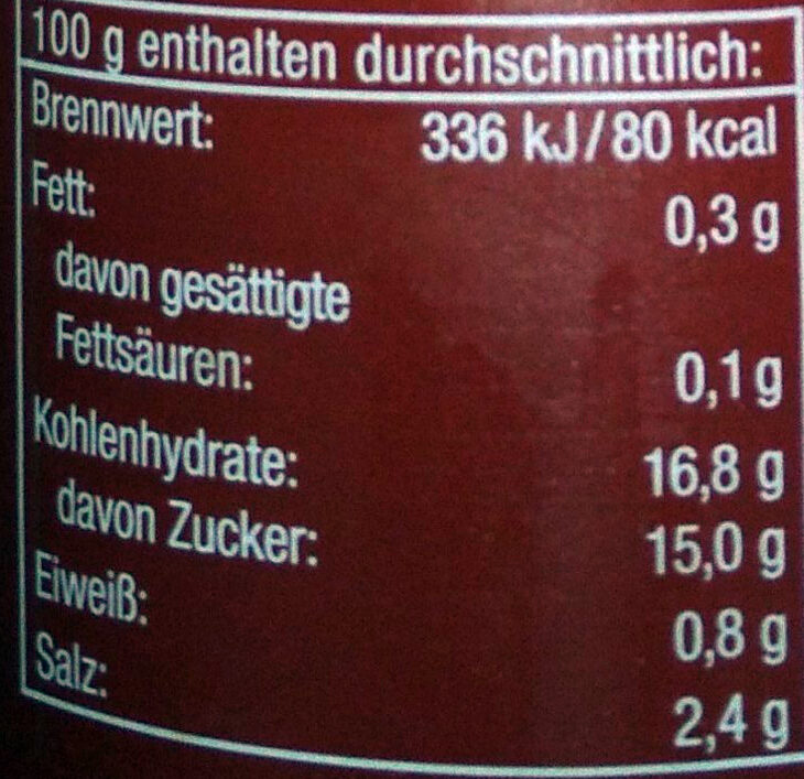 Curry Gewürz Ketchup light - Valori nutrizionali - de