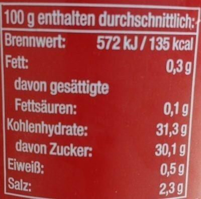 Gewürz Ketchup Curry - Valori nutrizionali - de