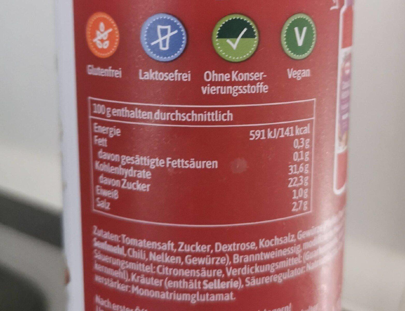 Gewürz Ketchup - Schaschlik - Nutrition facts - de