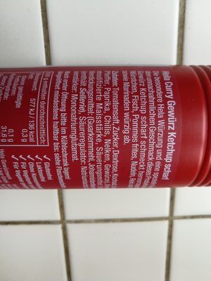 Hela Curry Gewürz Ketchup Scharf - Inhaltsstoffe