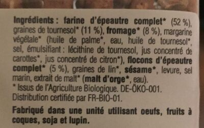 Fromage et graines de tournesol - Ingredients - fr