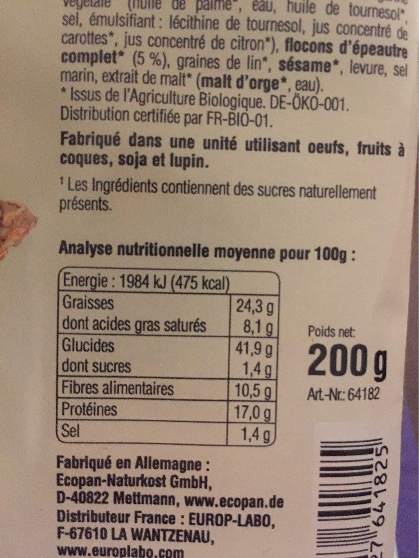 Fromage et graines de tournesol - Nutrition facts - fr