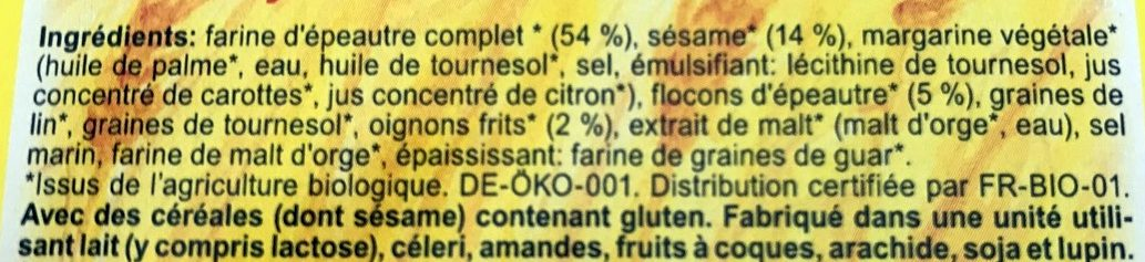 Épeautre Crackers Country Sésame & Oignon - Ingredients - fr