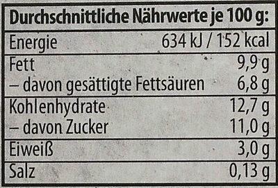Mousse Blanche Holunderblüte - Informations nutritionnelles - de