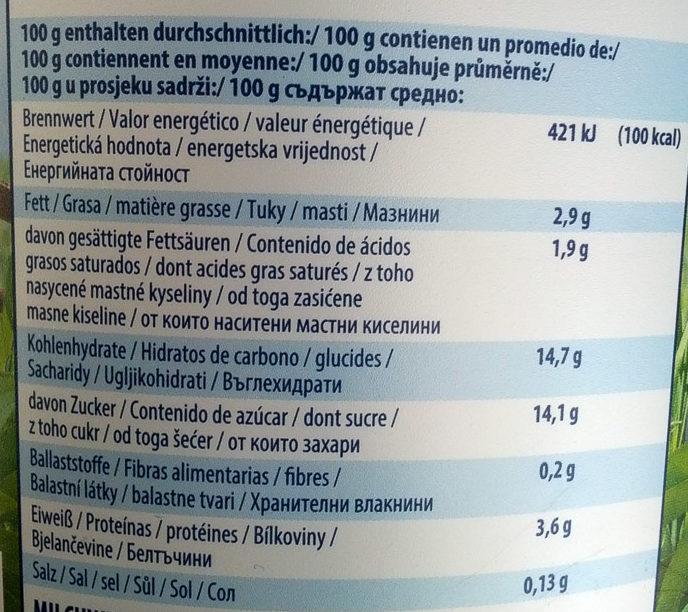 Pfirsich-Maracuja Fruchtjoghurt mild - Nährwertangaben