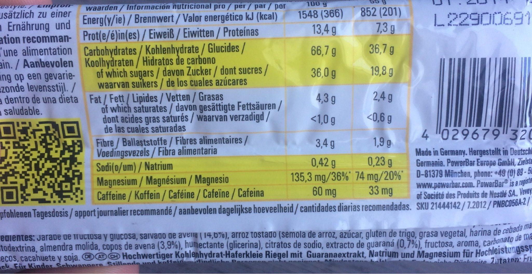 Barre Powerbar - Informations nutritionnelles