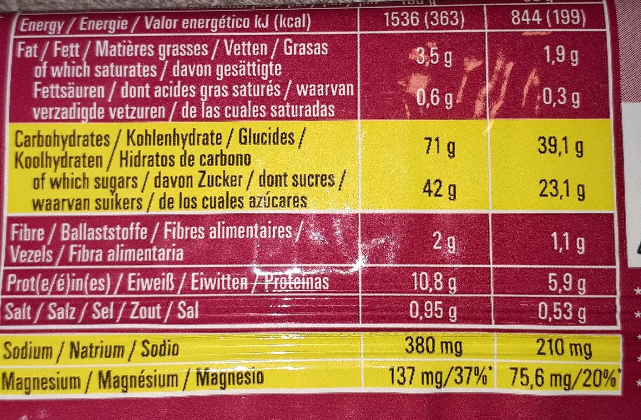 Barre Powerbar - Informations nutritionnelles - fr