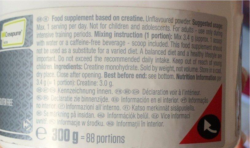 Creatine monohydrate - Valori nutrizionali - fr