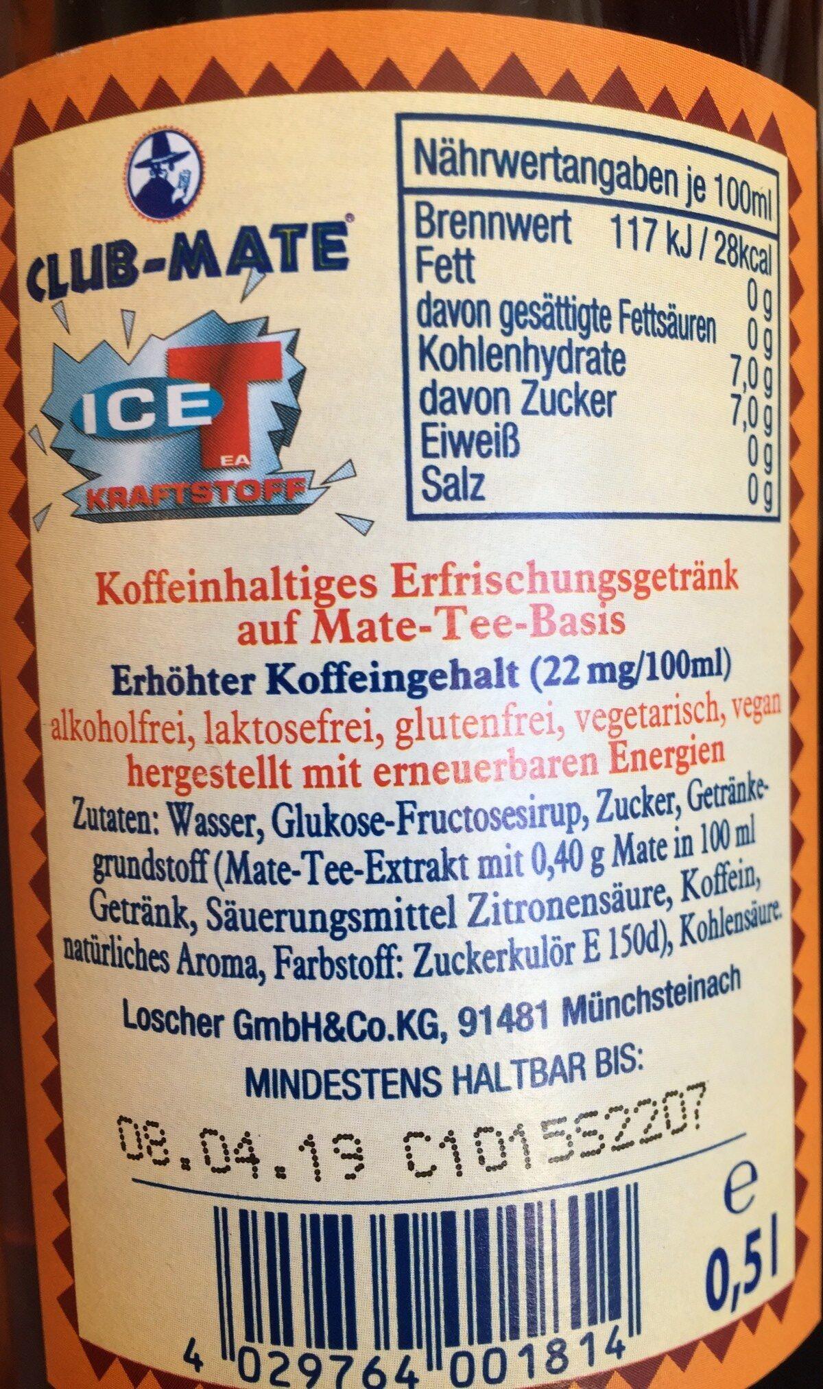 Club Mate, Ice Tea Kraftstoff - Ingrédients
