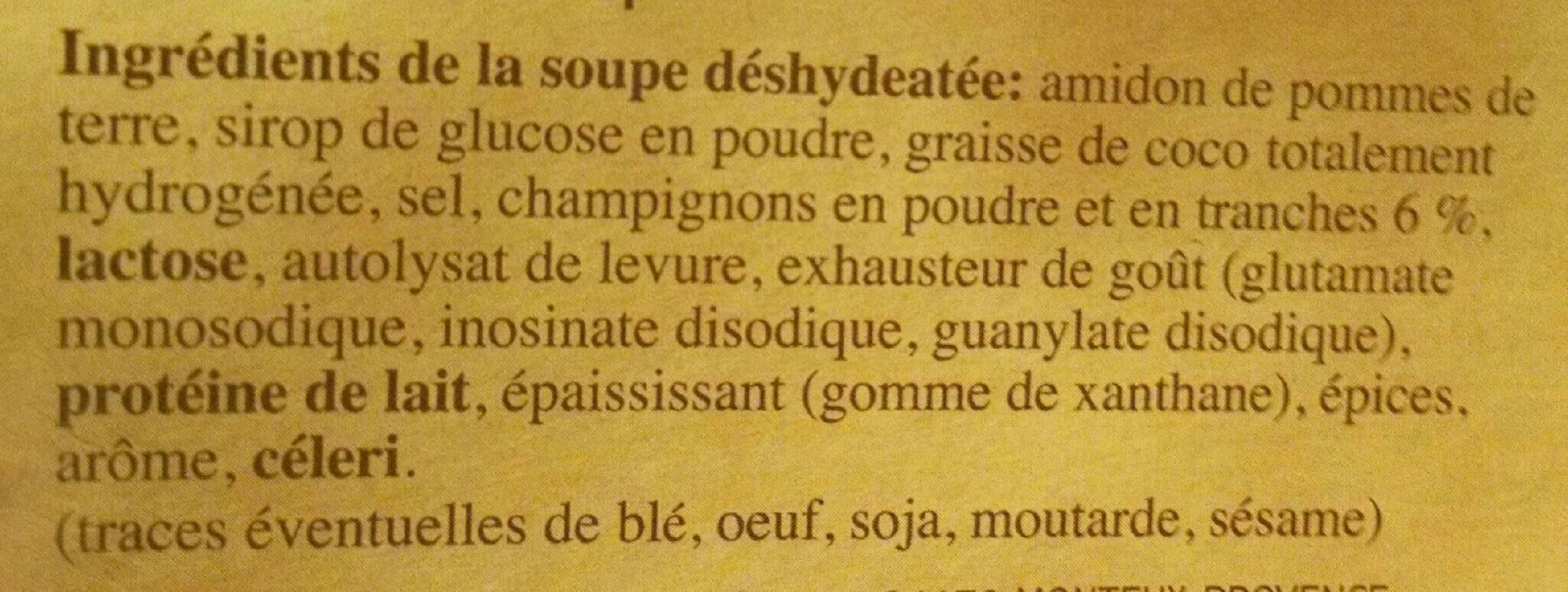 Soupe Instantanée aux champignons - Ingredients - fr