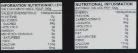 Candy Jock Strap - Nutrition facts - fr
