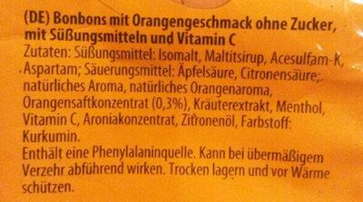 Erfrischungsbonbons wild Orange - Ingrediënten
