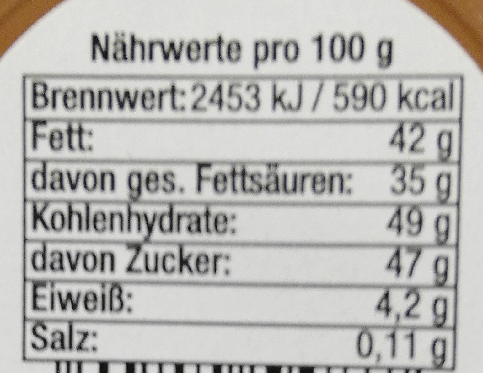 Vollmilchglasur - Informations nutritionnelles - de