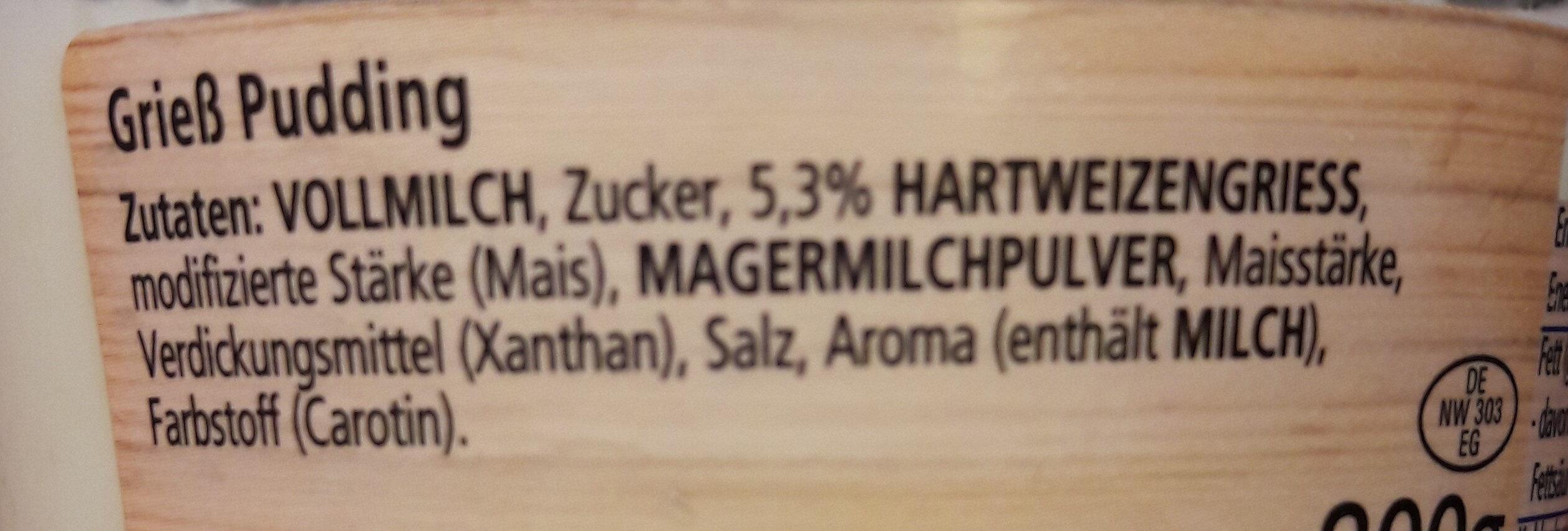Grieß Pudding Natur - Ingredients - de