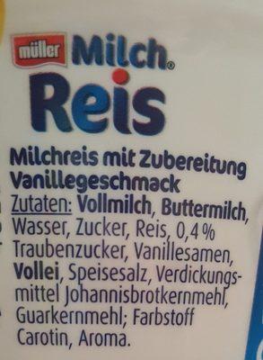 Milchreis Vanilla - Ingrédients - fr