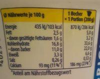 Milchreis Vanilla - Informations nutritionnelles - fr