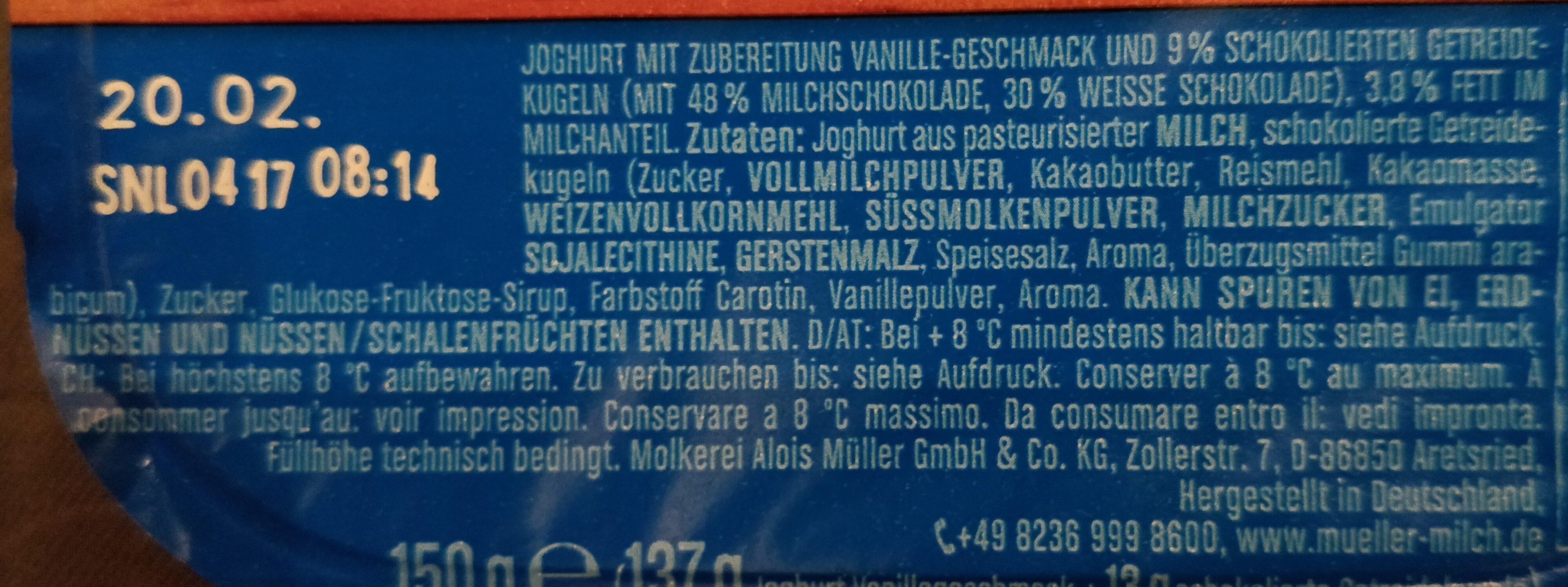 Joghurt mit der Ecke Schoko Balls - Zutaten - de
