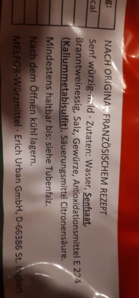 Würzig-mild Senf - Ingrédients - fr