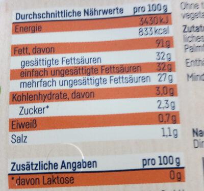 rein pflanzliches Schmalz - Informations nutritionnelles - de