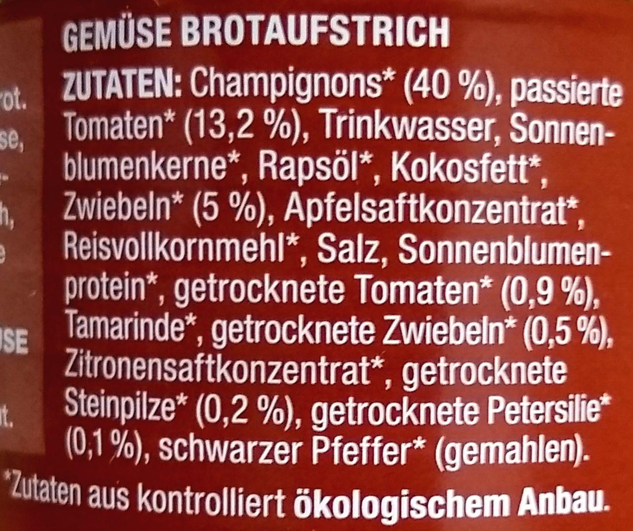 Gemüse auf's Brot Pilze - Ingredienti - de