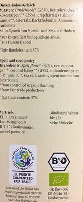Dinkel-Kokos-Gebäck - Ingrédients - fr