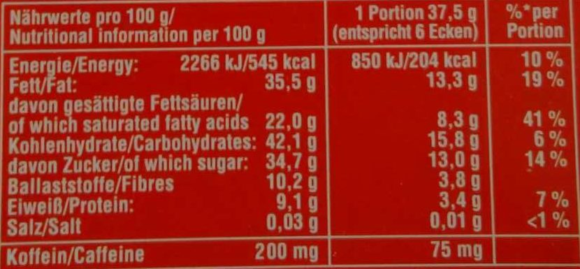 Scho-Ka-Kola - Informations nutritionnelles