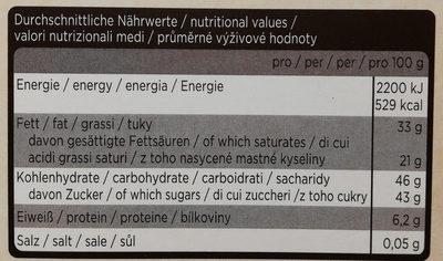 Kuvertüre Zartbitterschokolade - Nährwertangaben - de