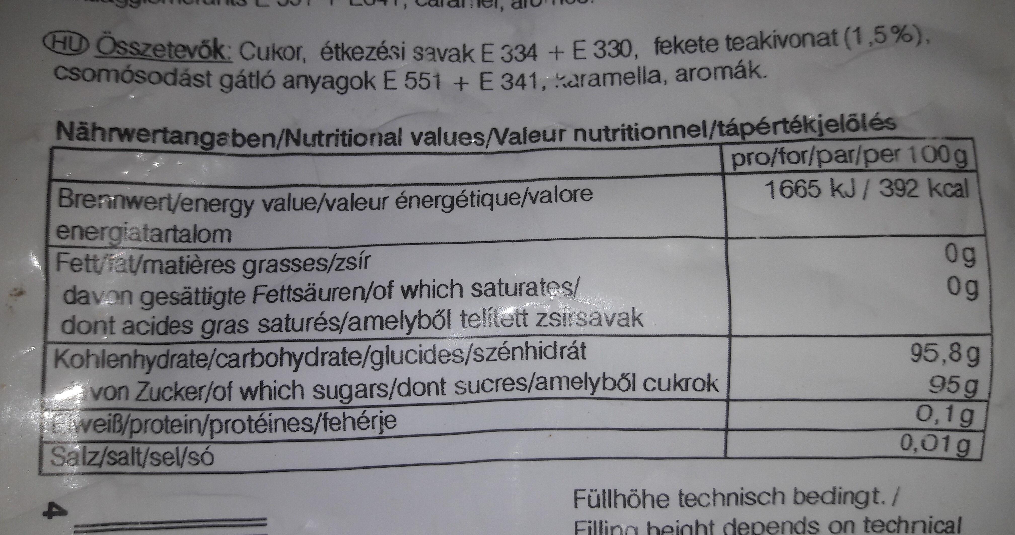 TYP ZITRONENTEE - Informations nutritionnelles - de